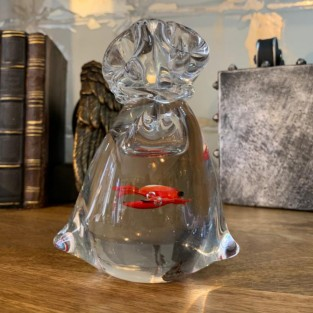 Goldfish in Bag Glass Paperweight