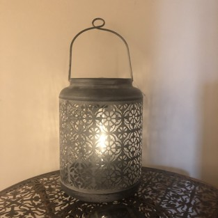 Grey Lattice Solar Lantern (3898)
