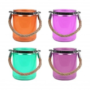 4 x Jute Handled Coloured Glass Lanterns
