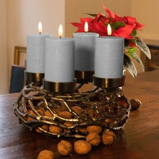 LED 3D Flame Candle Grey With Remote (4 pack)