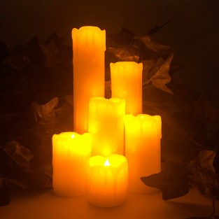 LED Dripping Wax Candle Set of 6
