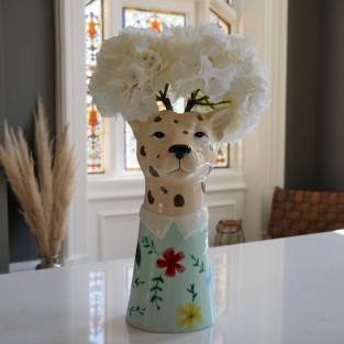 Large Leopard Head Vase