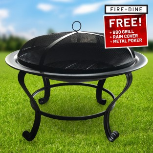 Meridian Fire Pit & BBQ Grill With Rain Cover by Fire & Dine