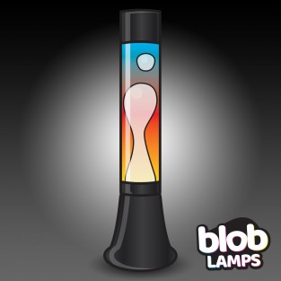 "MODERN Blob Lamp - Black Rainbow Lava Lamp 14.5"""