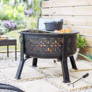 Moresque Deep Steel Fire Pit with Grill