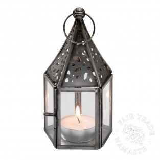 13cm Moroccan Lantern with Zinc Finish and Clear Glass LT133