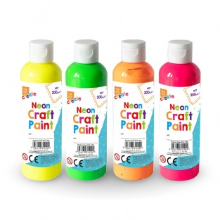 Neon Craft Paint for Finger Painting (4 pack)