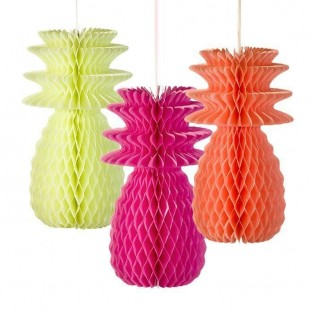 Neon Pineapple Honeycomb Decorations (3 Pack)