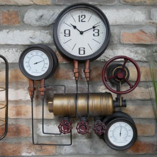 Industrial Styled Pipe Clock with Thermometer & Hygrometer