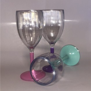 24 x Coloured Stem Party Wine Glasses