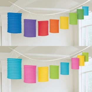Rainbow and Neon Paper Lantern Garlands