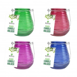 4 x Ribbed Glass Candle Holders