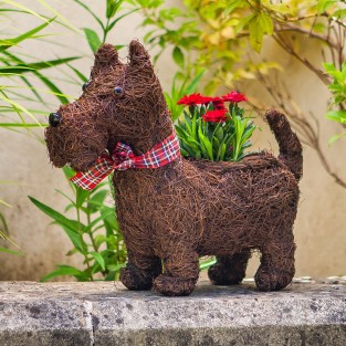 Scottie Dog Rattan Planter