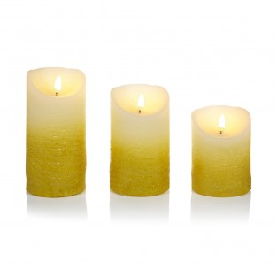 Set of Three Ombre Flickabright Gold Candles