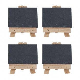 Set of Four Easel and Slate Plate Settings