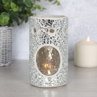 Silver Crackle Oil Burner