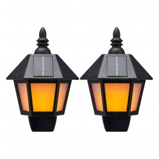 Solar Dancing Flame Wall Lantern (Twin Pack)