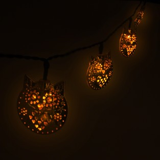 Solar Metal Owl String Lights