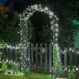 200 Cool White LED Solar String Lights