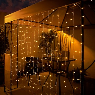 Solar Curtain - 192 Warm White LEDs