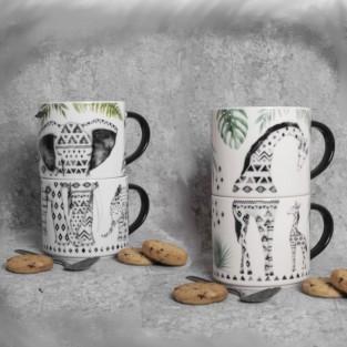 Elephant and Giraffe Stacking Mugs