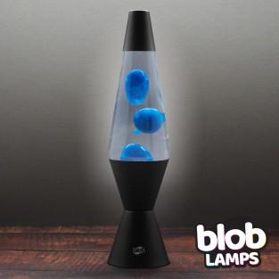 "VINTAGE Blob Lamp -  Matt Black Lava Lamp 14.5"" - Blue/Clear"