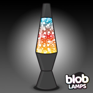 VINTAGE Blob Lamp - Matt Black  Rainbow Glitter Lamp