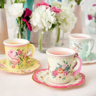 12 x Vintage Paper Cup and Saucer Set