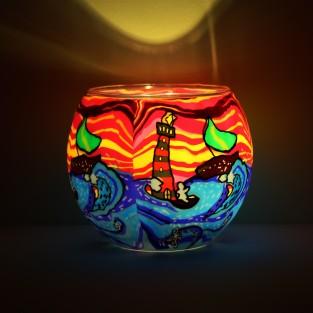 Waves Glass Tealight Holder