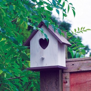 White Heart Bird Nesting Box