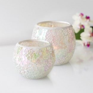 Iridescent Candle Holders White Mosaic