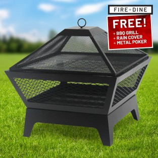 Windsor Steel Fire Pit & BBQ Grill With Rain Cover by Fire & Dine