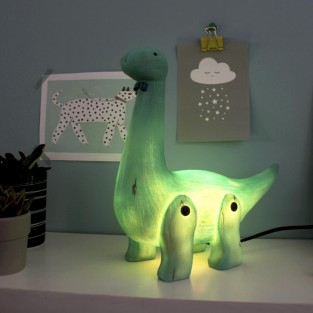 Wood Effect Diplodocus Lamp