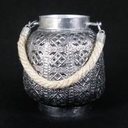 18cm Filigree Hessian Lantern 3
