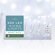 200 Micro Led Battery Operated Lights - Bright White 1