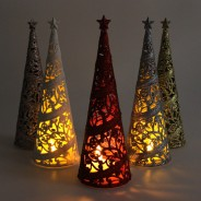 24cm Christmas Tree Table Decoration  1 Pictured with LED tealights (not included)
