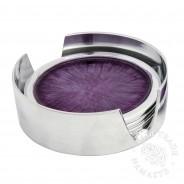 4 x Brushed Aluminium Coasters in Holder (AL483)  4 Purple