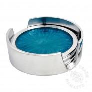 4 x Brushed Aluminium Coasters in Holder (AL483)  5 Turquoise