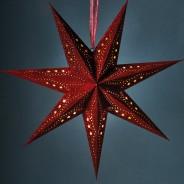60cm Velvet 10 LED Star 4 Red