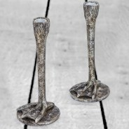 Pair of Antique Silver Bird Leg Candlesticks 1