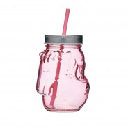 Unicorn Pink Glass Drinks Jars x 4 2