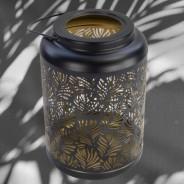 Black and Gold Solar Leaf Lantern (3897) 2