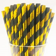 Black & Gold Biodegradable Paper Straws (25 pack) 1