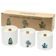 3 x Botanical Soy Candles with Wooden Wick 3