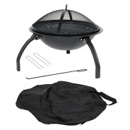 Camping Steel Fire Pit with Grill 8