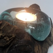 Molten Glass on Wood Candle Holder 1