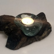 Molten Glass on Wood Candle Holder 3