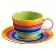 Rainbow Ceramics Tea & Coffee Essentials  9 Tea cup and saucer