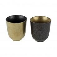 Ceylon Black and Gold Ceramics  6 Cups