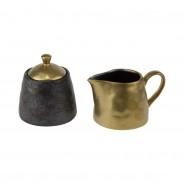 Ceylon Black and Gold Ceramics  7 Sugar Pot and Creamer